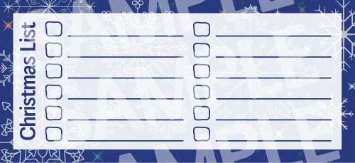 Navy Blue Snowflakes Printable Christmas List