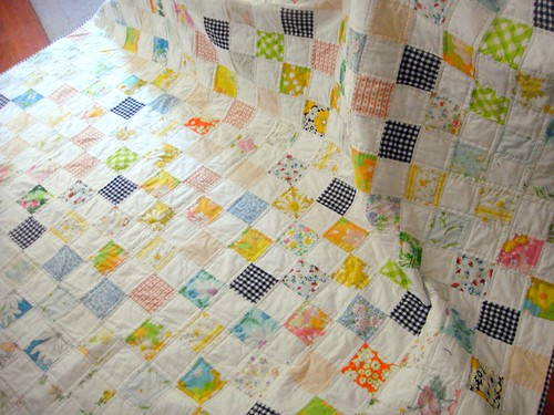 vintage fabric and reclaimed linens quilt