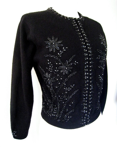 Beaded Beauty Black Cardigan Sweater, Vintage 50's