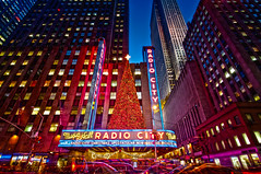 Radio City @ New York City (mudpig) Tags: christmas nyc newyorkcity longexposure newyork night geotagged neon cityscape traffic rockefellercenter christmastree artdeco bluehour radiocitymusichall radiocity rockettes lighttrail christmasspectacular mudpig stevekelley