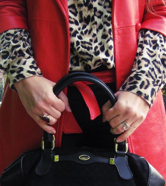 leopard print blouse and vintage red leather coat+vintage gucci bag 2-dark