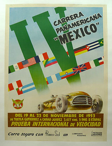 017-Carrera Panamericana Mexico 1953-© 2010 Vintage Auto Posters. All Rights Reserved