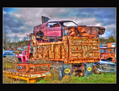 Junk On Top Of Junk (Calvin J.) Tags: auto ontario canada club yard photography junk nikon flickr nikkor mississauga salvage wreckage hdr wrecking rockwood 2470mmf28 mcleans anawesomeshot d700