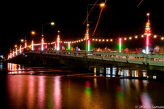 (Chinese Port Bridge) (Dhanus S.) Tags: street bridge family light reflection bulb night port river thailand photography chinese tar loykratong nakorn  prathom chean     totallythailand pinmemo