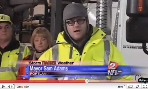 Mayor Sam Adams and snow