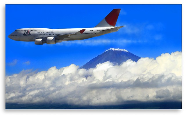 JAPAN AIRLINE With Mt. FUJI View- JAPAN : 富士山 :