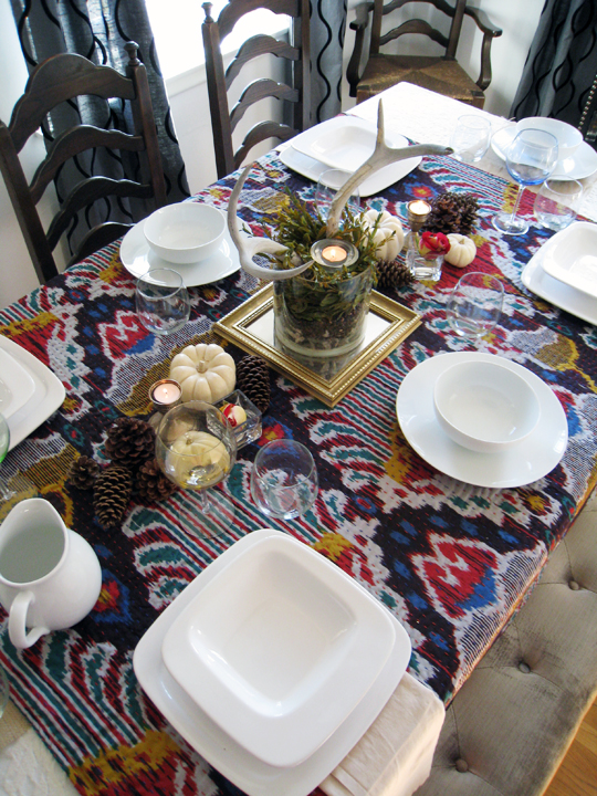 setting your table with ikat and antlers+thanksgiving tabletop decor+white dishes