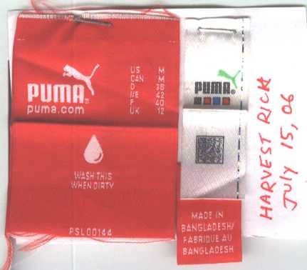 Puma label smuggled  out of factory