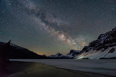 Between the Sun and the Moon (y0chang) Tags: pentax mountains icefields milkyway stars astrophotography alberta canada longexposure landscape bowlake icefieldsparkway