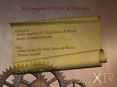 ..ELIXIR.. Kit Designer APPLIER & PSD Ears (julieabd) Tags: ears blood tattoo facial mesh head slink applier adam catwa logo gaeg akeruka omega genesis lab lag