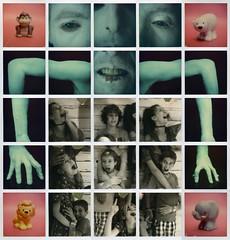 The beast is back ! (Erwan Bela) Tags: polaroid impossible sx70 slr680 collage color bw beast bête kids enfants