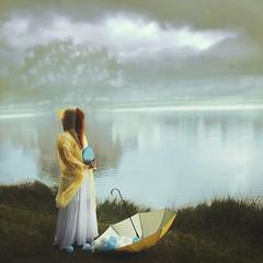 Rain Collector (Diogo Costta) Tags: rain cloudy lake grey yellow drops water umbrella cape redhead ginger dress foggy fog emotional meaninful melancholy melancolic