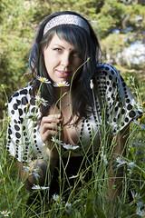 Renee in the daisy field