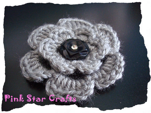 Gray Flower Brooch