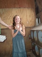 Leah holding an egg