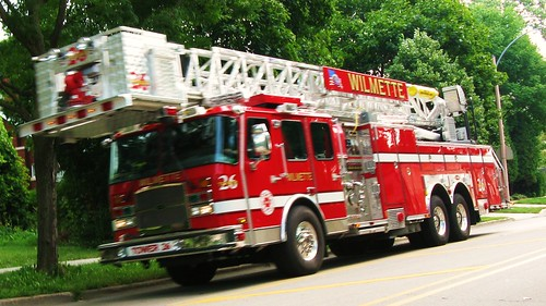 Wilmette Fire Department ariel tower truck #26 heading westbound on Lake Avenue. Wilmette Illinois. July 2010. by Eddie from Chicago