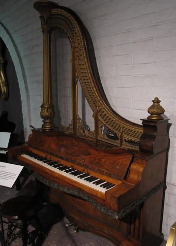 1857 Kuhn and Ridgeway Harp Piano