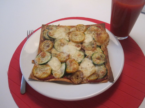 Bacon and courgette pizza, garden cocktail