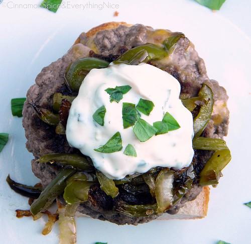 Stuffed Cheese Burgers with Peppers, Onions & Basil Garlic Mayo
