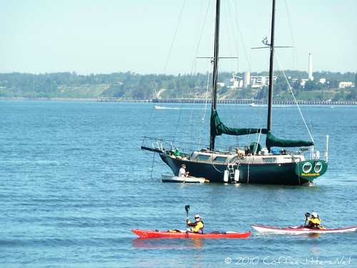 sailboat and kayaks on Bellingham Bay