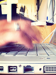 ++ (rezanaghibi) Tags: nikon 4500 coolpix point shoot camera photo per day macbook pro lap top computer notebook apple macintosh 15 fifteen inch slow shutter motion blur fingers hands ports rj45 patch network cable dvi digital video interface firewire ieee 1394 usb universal serial bus 2010