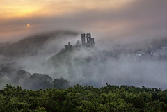 First mists of Autumn (antonyspencer) Tags: uk autumn mist castle sunrise landscape dorset corfe purbeck