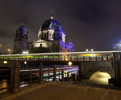 Light Trails from Boats and Buses Passing by the Berliner Dom in Berlin (Chris Dorney Photography) Tags: city travel bridge light urban berlin art history tourism church beautiful beauty night river germany dark landscape europe european cathedral dom famous sightseeing cities landmarks atmosphere tunnel nighttime walkway historical lighttrails awe spree atnight atmospheric pathway sights berlinerdom lighttrail artandculture thearts citysights riverspree artsandculture
