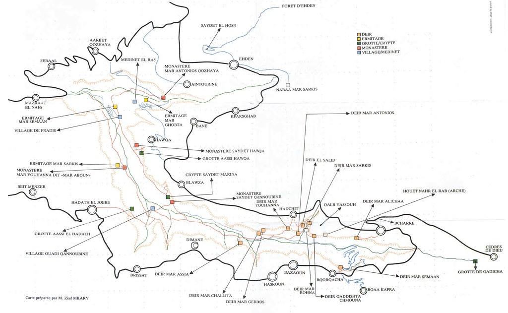 Mapa do vale sagrado, wadi qadisha, Libano