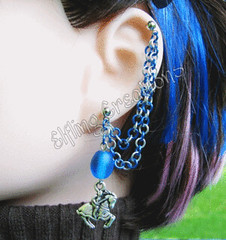 Silver and Blue Knight Cartilage Chain Earring - Paladin's Courage