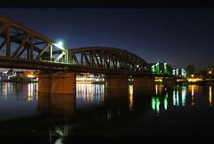 Train Bridge Reflection on The Nile River at Night / El.Mansoura / Egypt - 03 09 2010 (Ahmed Al.Badawy) Tags: bridge night train river with shots egypt 03 nile 09 ahmed 2010 elmansoura albadawy hutect