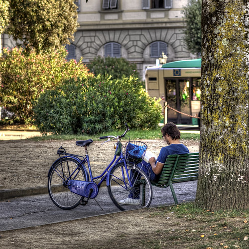bike and book in blue