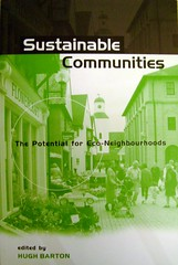 book cover for Sustainable Communities, Hugh Barton, ed. (photo of cover by London Permaculture, creative commons license)