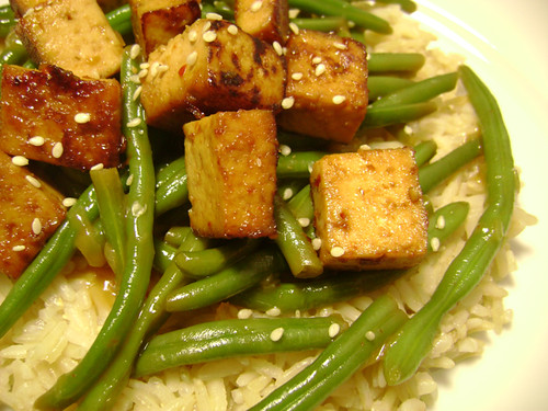 Green Beans and Rice with Sesame-Orange Sauce
