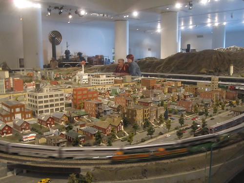 miniature city with trains