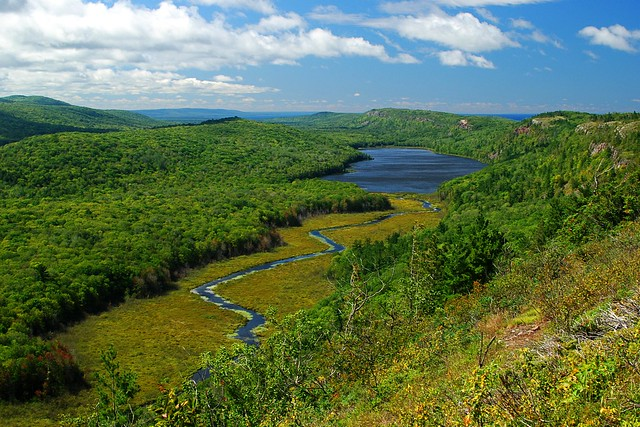 Landscape view of Lake of the Clouds, with the Porcupine Mountains and Carp River.