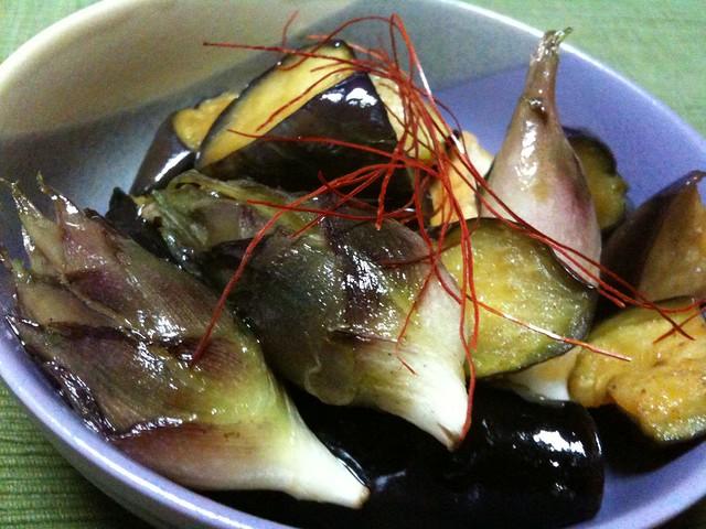 #jisui 茄子とみょうがの揚げ浸しで白飯がうめえ!