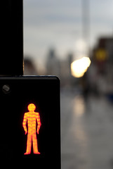 The red man (jamesbooth_london) Tags: road london reflections lights nikon crossing dof traffic bokeh east whitechapel e1 commercialroad londonist d80 nikkor50mm14 thelittleredman