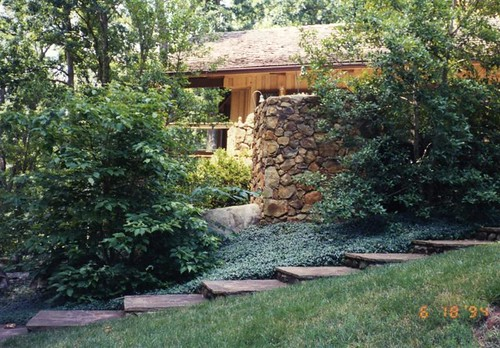 wide flagstone steps that follow the landscape grade