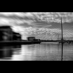 LensBaby Sailbridge (andyathlon) Tags: bridge 2 white black water swansea lensbaby clouds reflections 1 sony sail sa1 hdr composer layered ethos technium a700