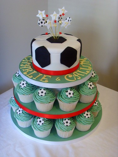 Football Themed Cupcake Tower