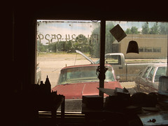 Shamrock, Texas. 6.30.10. (Nothing Signified) Tags: cars window car route66 texas garage oldtimers oldcars shamrock smalltown panhandle dirtywindow oldgarage carrepair smalltownlife urbanamericana shamrocktexas thewanderers sociallandscape newtopography texaspanhandle carrepairshop panhandletexas vanishingamerica mechanicsshop oldcarrepair realroute66 dirtyoldgarage americanelegy jimharrisshamrocktexas danwatsonphotography panhandleoftexas nothingsignified