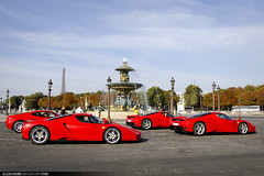 Ferrari Enzo... Trio ! [EXPLORED] (Tex Mex (alexandre-besancon.com)) Tags: red paris car yellow day place extreme champs elyses fast meeting ferrari event most concorde enzo expensive rosso rare kb supercar corsa rassemblement rossocorsa