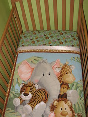 Jungle Babies Flannel Crib Sheet
