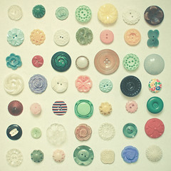 The Button Collection (_cassia_) Tags: new pink flowers blue brown white black green lines yellow vintage buttons patterns group mint multicoloured collection rows mustard transparent lolasroom