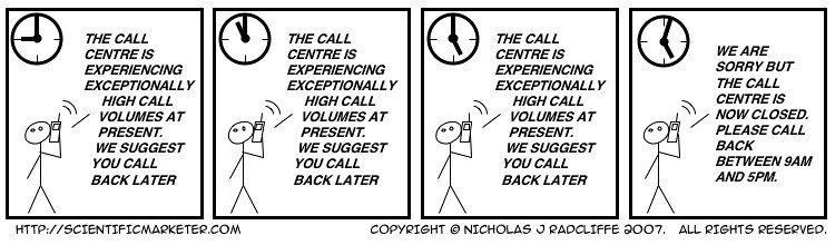 The call centre is experiencing exceptionally high call volumes at present.   We suggest you call back later. The call centre is experiencing exceptionally high call volumes at present.   We suggest you call back later. The call centre is experiencing exceptionally high call volumes at present.   We suggest you call back later.   We are sorry but the call centre is now closed.   Please call back later.