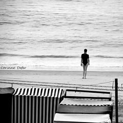 """L'Homme et la Mer"" - "" The Man and the Sea "" (Corinne DEFER - DoubleCo) Tags: travel light sea bw mer france nature square landscapes blackwhite sand darkness image noiretblanc horizon pebbles nb ciel squareformat nuages paysage vague vagues paesaggi pays basque paysages contrejour paisagens obscurit landschaften carr saintjeandeluz  intheevening negroblanco abigfave cieletmer lhommeetlamer blackwhiteaward carrfranais pentaxart corinnedefer monochromeaward updatecollection"