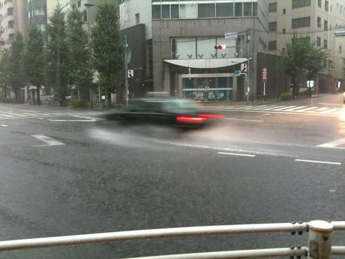 激しい雨です。