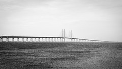 Bridge And Sea (Rutger Blom) Tags: bridge sea bw water blackwhite skne europe sweden technical sverige scandinavia vatten zweden resundsbron resundsbridge panasonicdmclx5