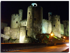 CONWY CASTLE AT NIGHT.... (vicki127.) Tags: road friends wales night photoshop greatshot conwy twop litup carheadlights catle youmademyday flickraward concordians ilovemypics vickiburrows