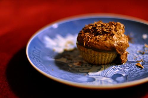 Cupcake med banan og chokolade